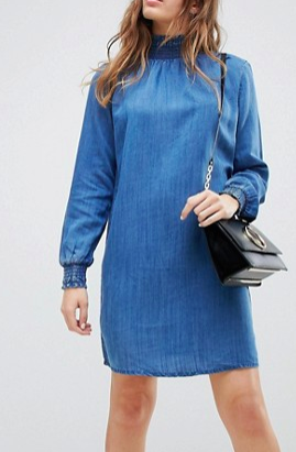 Only High Neck Denim Smock Dress