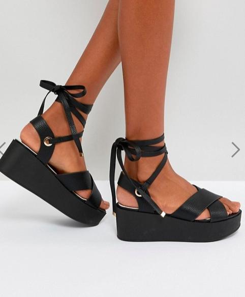 RAID Alma Black Ankle Tie Flatform Sandals