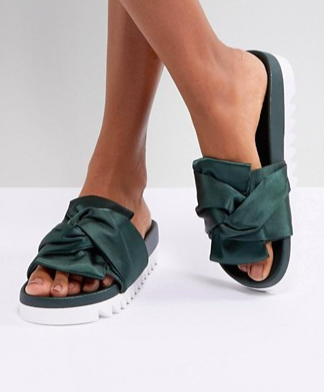 Glamorous Green Satin Bow Flatform Slide