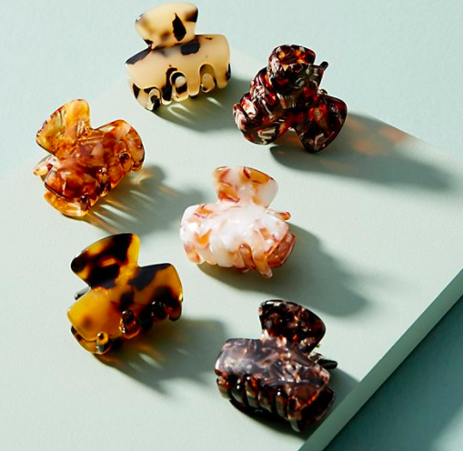 Anthropologie Speckled Mini Hair Clip Set