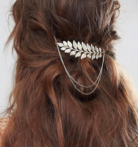 ASOS DESIGN leaf and chain back hair clip