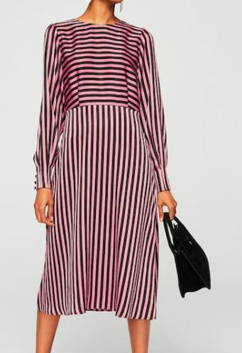 Mango Striped midi dress