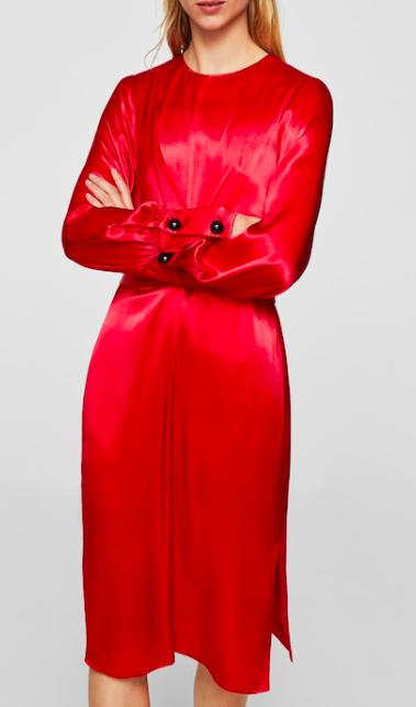 Mango Wrapped satin dress