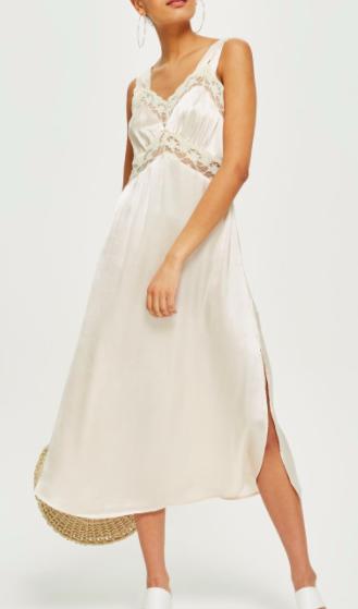 Topshop Lace Satin Midi Slip Dress