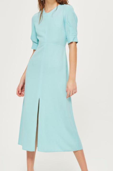 Topshop Seamed Crepe Midi Dress