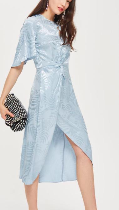 Topshop Jacquard Twist Midi Wrap Dress