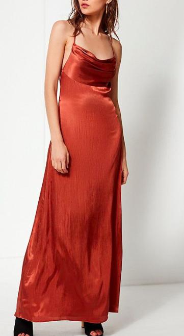 UO Cowl Neck Silk Maxi Dress