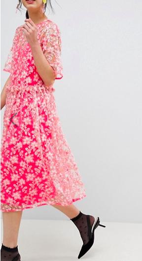 ASOS EDITION Floral Embellished Drop Waist Smock Midi Dress