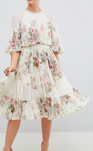 ASOS DESIGN Sheer & Solid Printed Midi Dress In Floral Print