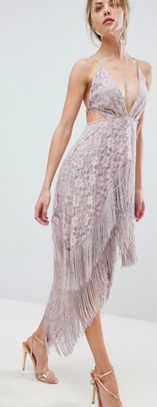 ASOS Lace Fringe Cut Away Midi Dress with Strappy Back