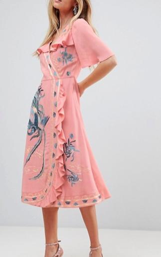 ASOS PREMIUM Embroidered Ruffle Wrap Midi dress