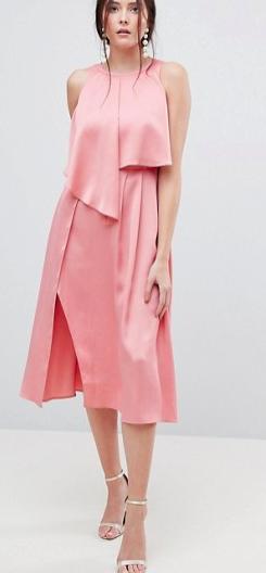 ASOS DESIGN crop top thigh split satin midi dress
