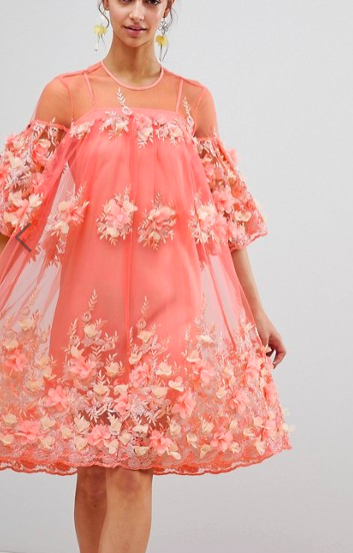 ASOS EDITION 3D Floral Trapeze Smock Midi Dress