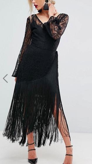 ASOS Lace Deep Plunge Fringe Wrap Midi Dress
