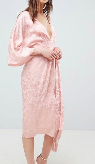 ASOS Soft Jacquard Kimono Dress with Fringe Belt