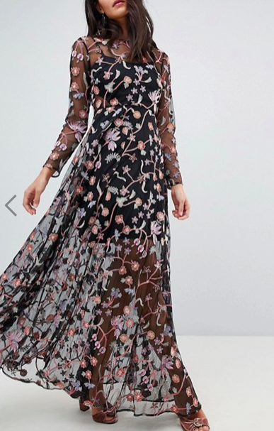 ASOS EDITION All Over Multi Colored Floral Embroidered Maxi Dress