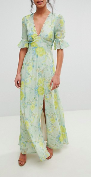 Hope & Ivy Floral Printed Maxi Dress With Thigh Split
