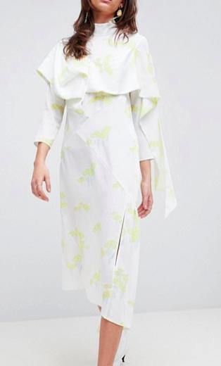 ASOS WHITE Lily Pad Bias Cut Dress