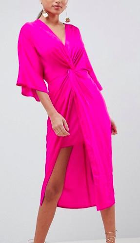 ASOS DESIGN Knot Front Kimono Midi Dress