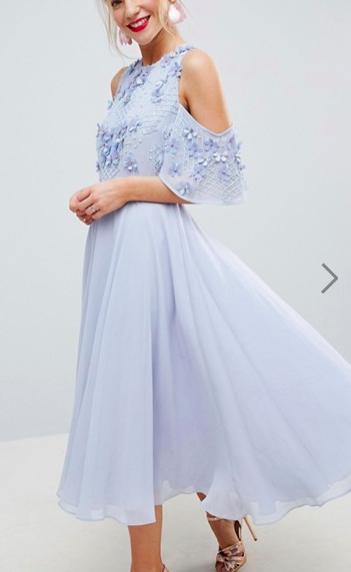 ASOS Embellished 3D Cluster Cold Shoulder Midi Dress