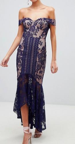 Jarlo All Over Lace Off Shoulder Fishtail Midi Dress