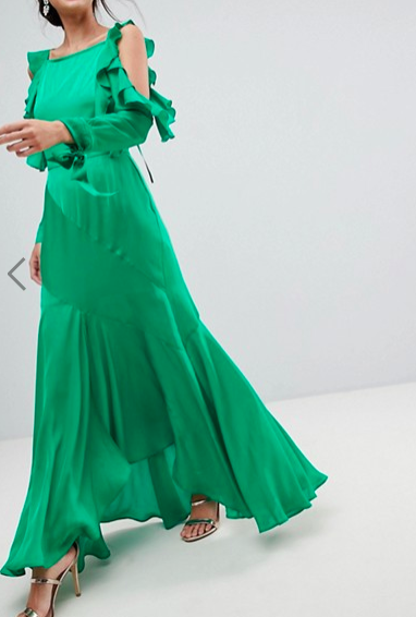 ASOS Ruffle Sleeve Maxi Dress with Cold Shoulder