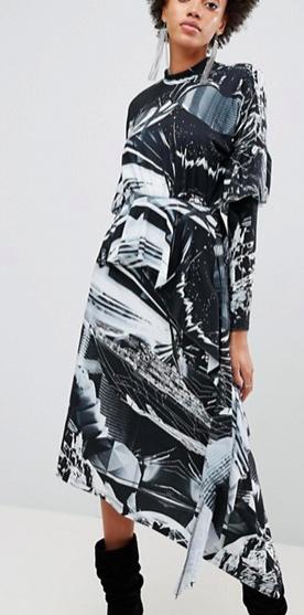 ASOS x Star Wars Printed Long Sleeve Hanky Hem Dress