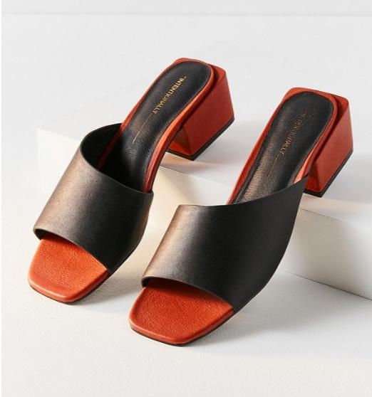 Intentionally Blank Roll Asymmetrical Mule Heel