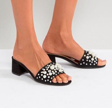 Qupid Pearl Trim Mule Sandal