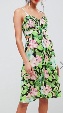 ASOS DESIGN Button Through Cut Out Midi Sundress In Tropical Print