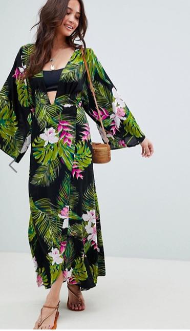 ASOS DESIGN Dark Tropical Print Long Sleeve Plunge Beach Maxi Dress