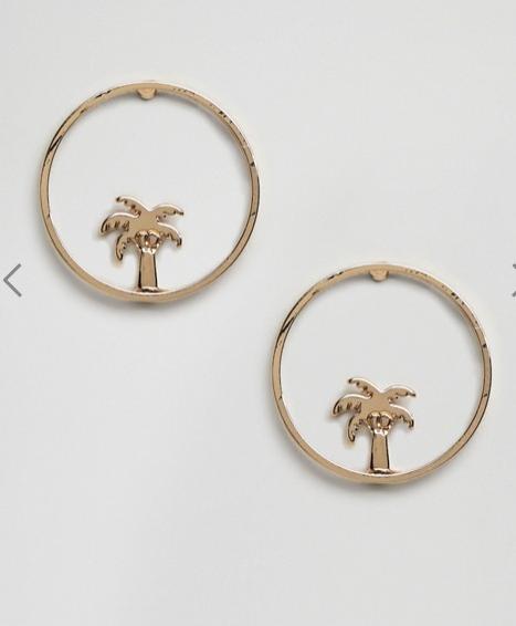 ASOS Palm Tree Hoop Stud Earrings