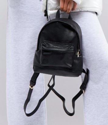 Mi-Pac Super Mini Tumbled PU Backpack In Black