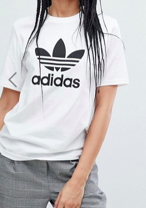 adidas Originals adicolor Trefoil Oversized T-Shirt In White