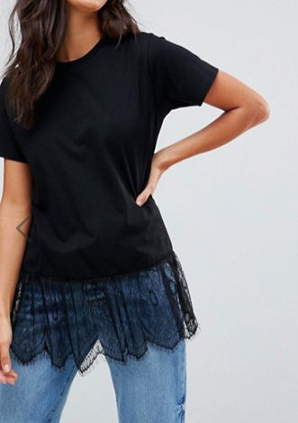 ASOS T-Shirt with Paneled Lace Ruffle Hem