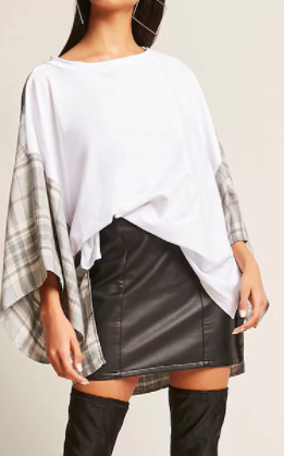 Forever 21 Oversized Plaid Combo Tee