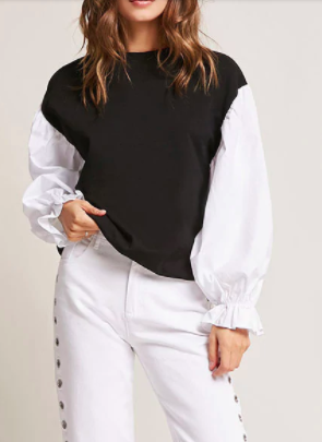 Forever 21 Poplin Sleeve Top