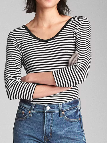 Gap Long Sleeve Featherweight Stripe Scoopneck Top
