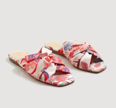 Mango Embroidered slingback sandals