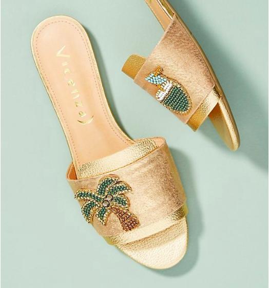 Vicenza Metallic Palm Slide Sandals