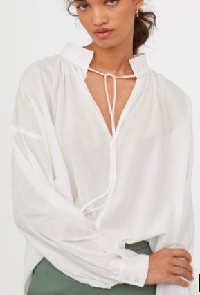 HM Wide-cut Cotton Blouse