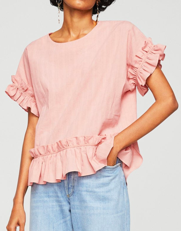 MANGO Textured ruffled blouse