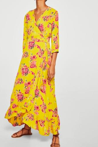 Mango Floral wrap dress