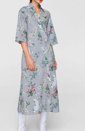 Mango Floral shirt dress