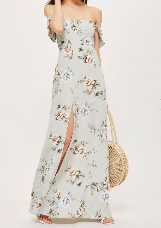 Floral Print Bardot Maxi Dress by Flynn Skye