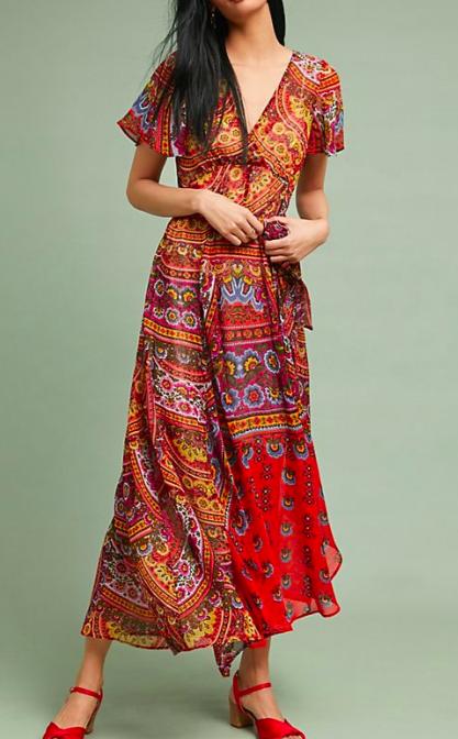 Anthropologie Murol Wrapped Maxi Dress