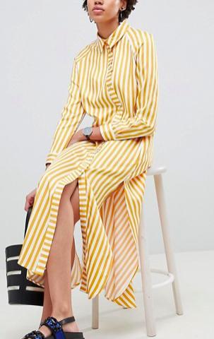 ASOS WHITE Oversized Stripe Maxi Shirt