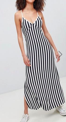 Bershka stripe cami maxi dress in navy