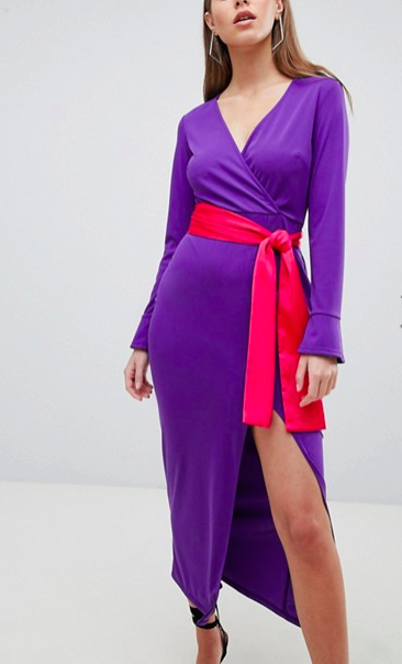 ASOS DESIGN Maxi Dress With Long Sleeve And Contrast Belt