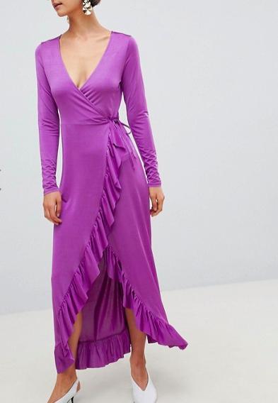 ASOS DESIGN slinky maxi wrap dress